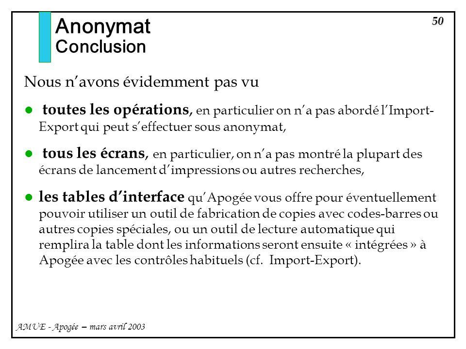 50 AMUE - Apogée – mars avril 2003 Nous navons évidemment pas vu toutes les opérations, en particulier on na pas abordé lImport- Export qui peut seffe