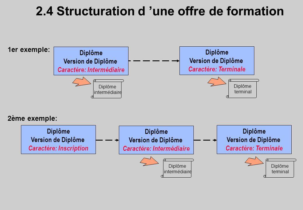 2.4 Structuration d une offre de formation Diplôme Version de Diplôme Caractère: Intermédiaire Diplôme Version de Diplôme Caractère: Terminale Diplôme