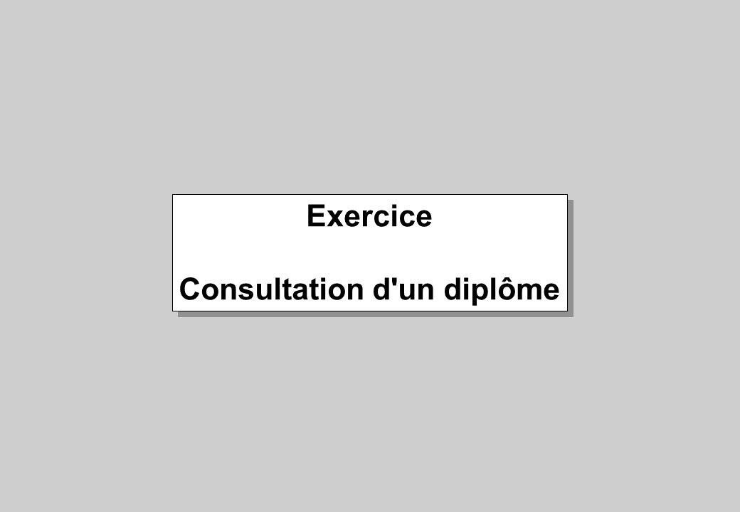 Exercice Consultation d'un diplôme Exercice Consultation d'un diplôme