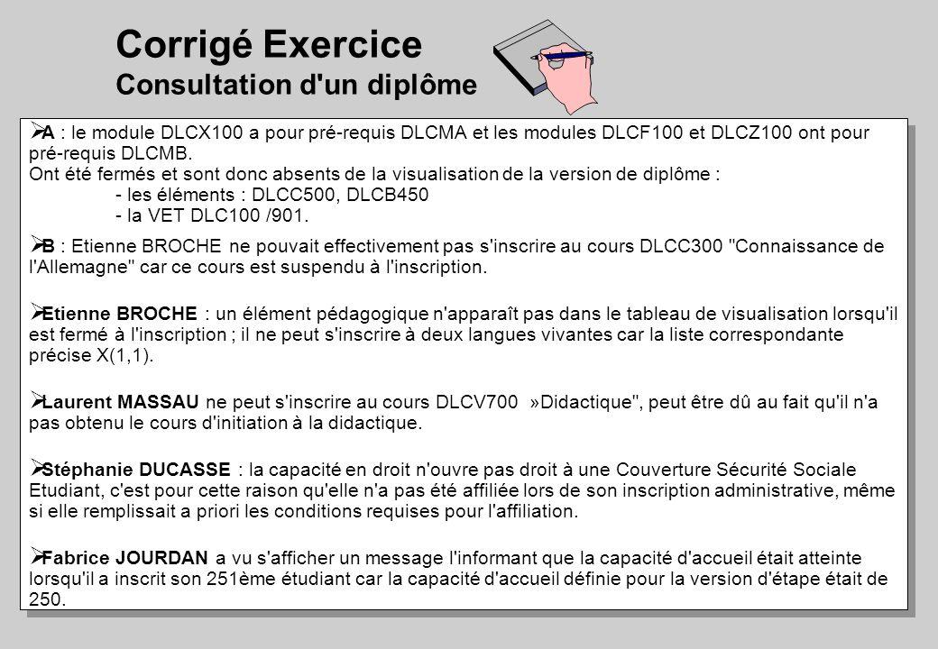 Corrigé Exercice Consultation d'un diplôme A : le module DLCX100 a pour pré-requis DLCMA et les modules DLCF100 et DLCZ100 ont pour pré-requis DLCMB.