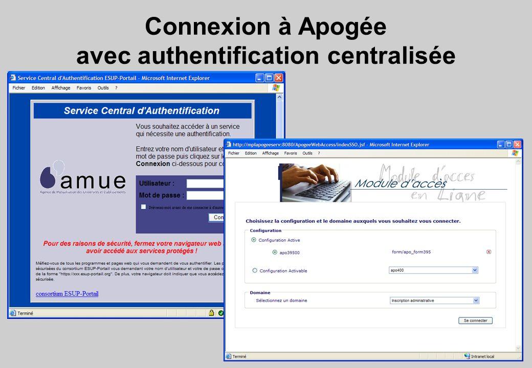 Connexion à Apogée avec authentification centralisée