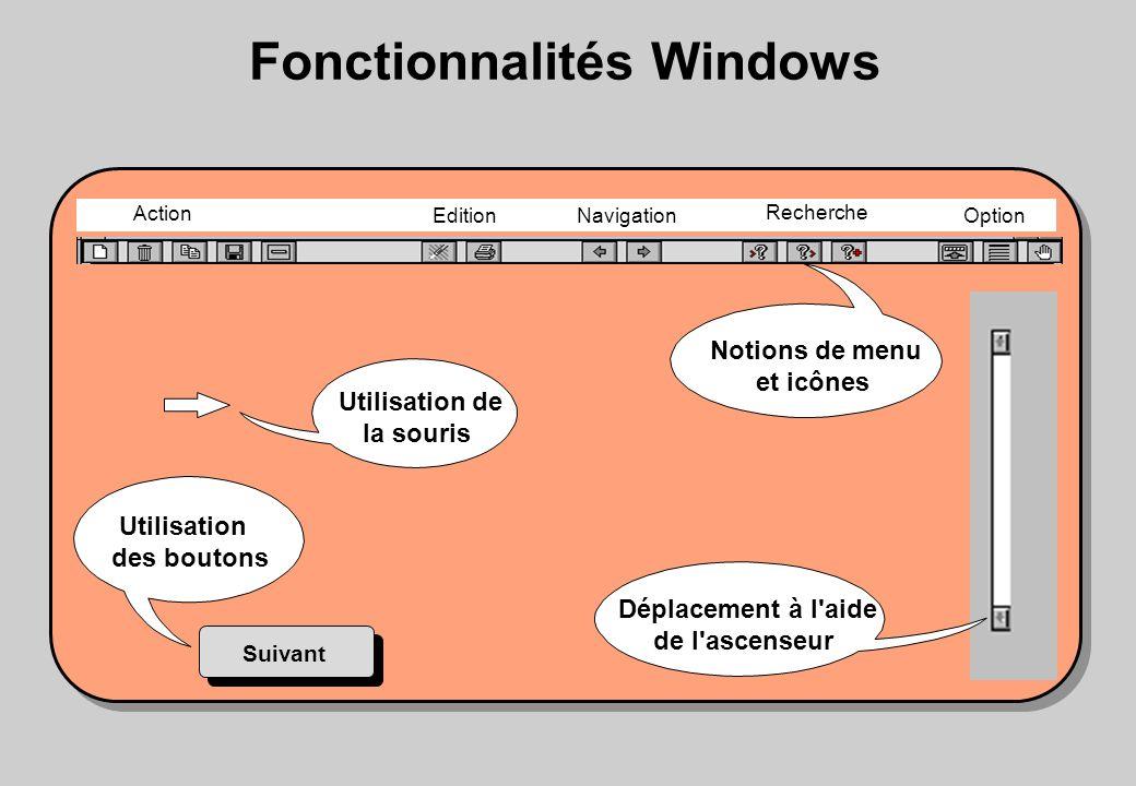 Utilisation des boutons Notions de menu et icônes Déplacement à l aide de l ascenseur Suivant Fonctionnalités Windows Action Edition Navigation Recherche Option Utilisation de la souris