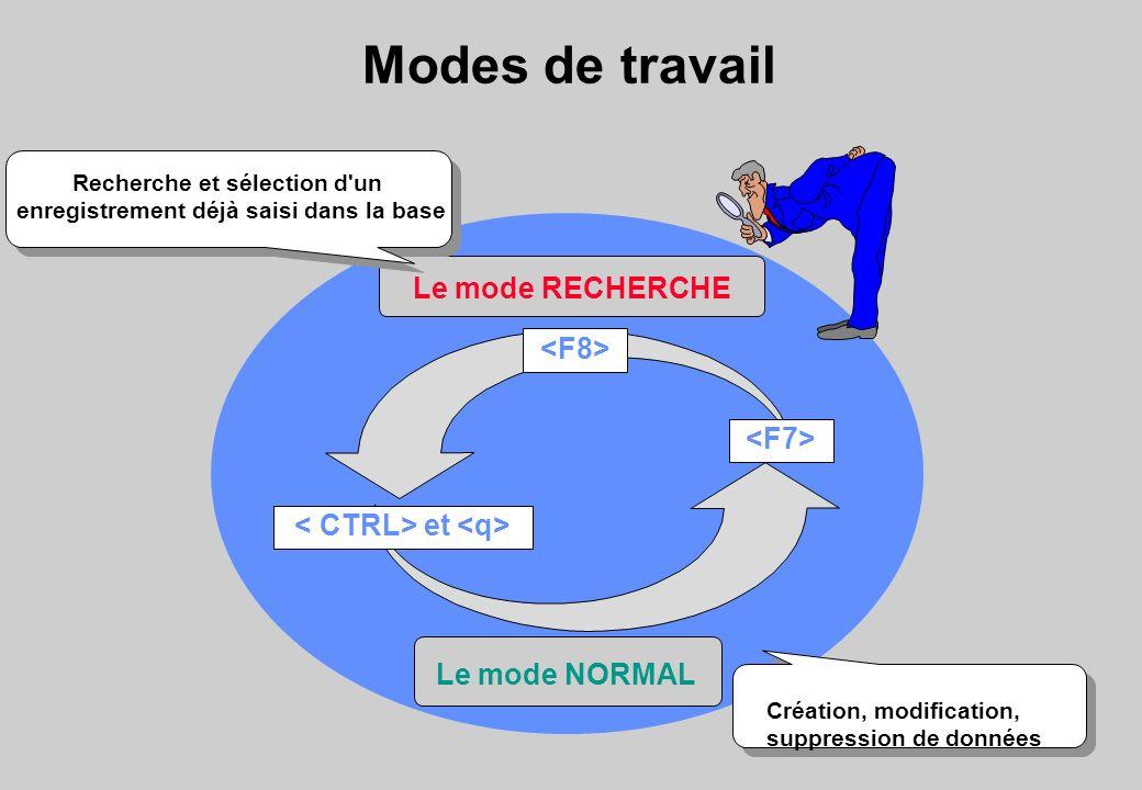 Modes de travail Le mode RECHERCHE Le mode NORMAL et Création, modification, suppression de données Recherche et sélection d un enregistrement déjà saisi dans la base