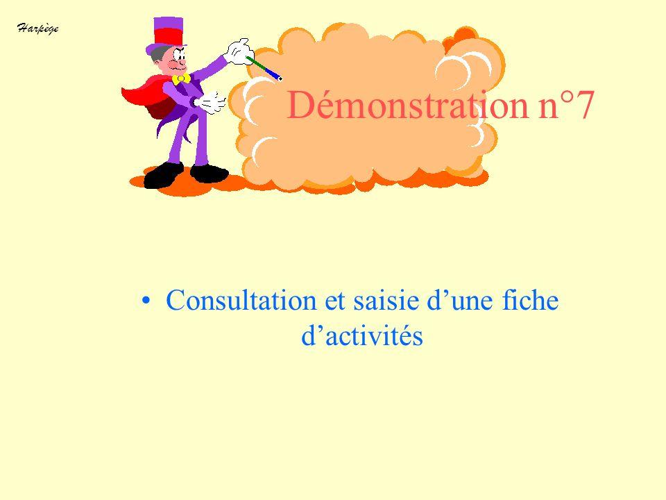Harpège Démonstration n°7 Consultation et saisie dune fiche dactivités