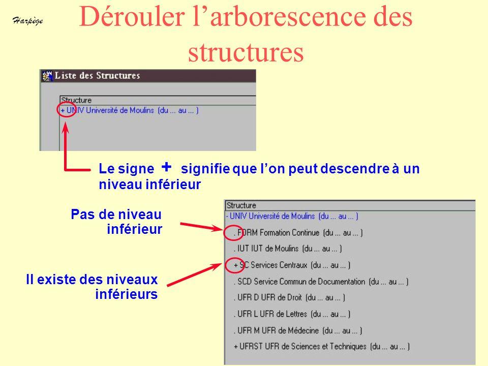 Harpège 13 Dérouler larborescence des structures Le signe + signifie que lon peut descendre à un niveau inférieur Pas de niveau inférieur Il existe de