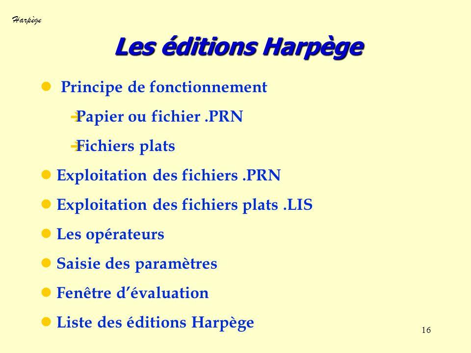Harpège 16 Les éditions Harpège Principe de fonctionnement Papier ou fichier.PRN Fichiers plats Exploitation des fichiers.PRN Exploitation des fichier