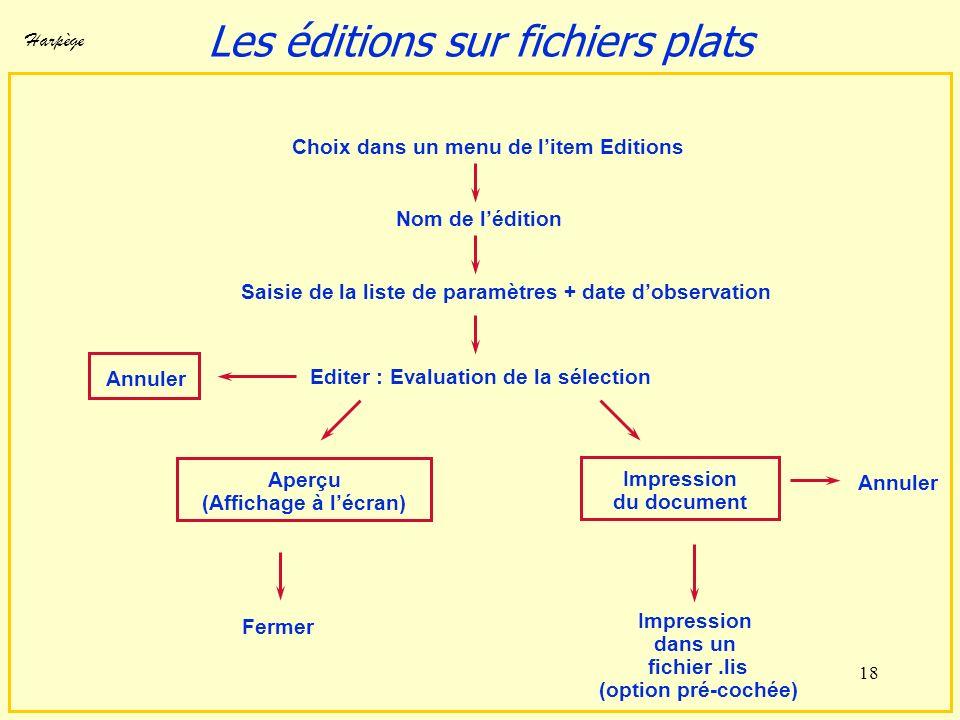 Harpège 18 Saisie de la liste de paramètres + date dobservation Editer : Evaluation de la sélection Nom de lédition Fermer Aperçu (Affichage à lécran)