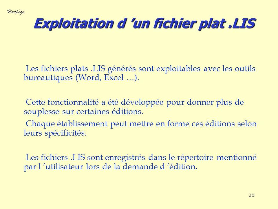Harpège 20 Exploitation d un fichier plat.LIS Les fichiers plats.LIS générés sont exploitables avec les outils bureautiques (Word, Excel …). Cette fon