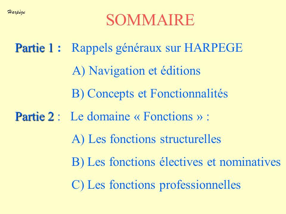 Harpège SOMMAIRE Partie 1 Partie 1 : Rappels généraux sur HARPEGE A) Navigation et éditions B) Concepts et Fonctionnalités Partie 2 Partie 2 : Le doma