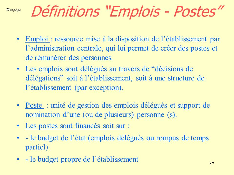 Harpège 37 Définitions Emplois - Postes Emploi : ressource mise à la disposition de létablissement par ladministration centrale, qui lui permet de cré