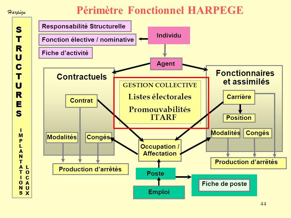 Harpège 44 Périmètre Fonctionnel HARPEGE Responsabilité Structurelle Fonction élective / nominative Fiche dactivité GESTION COLLECTIVE Listes électora