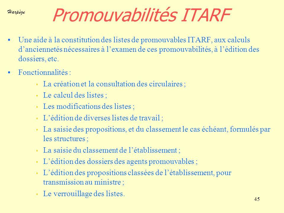 Harpège 45 Promouvabilités ITARF Une aide à la constitution des listes de promouvables ITARF, aux calculs danciennetés nécessaires à lexamen de ces pr