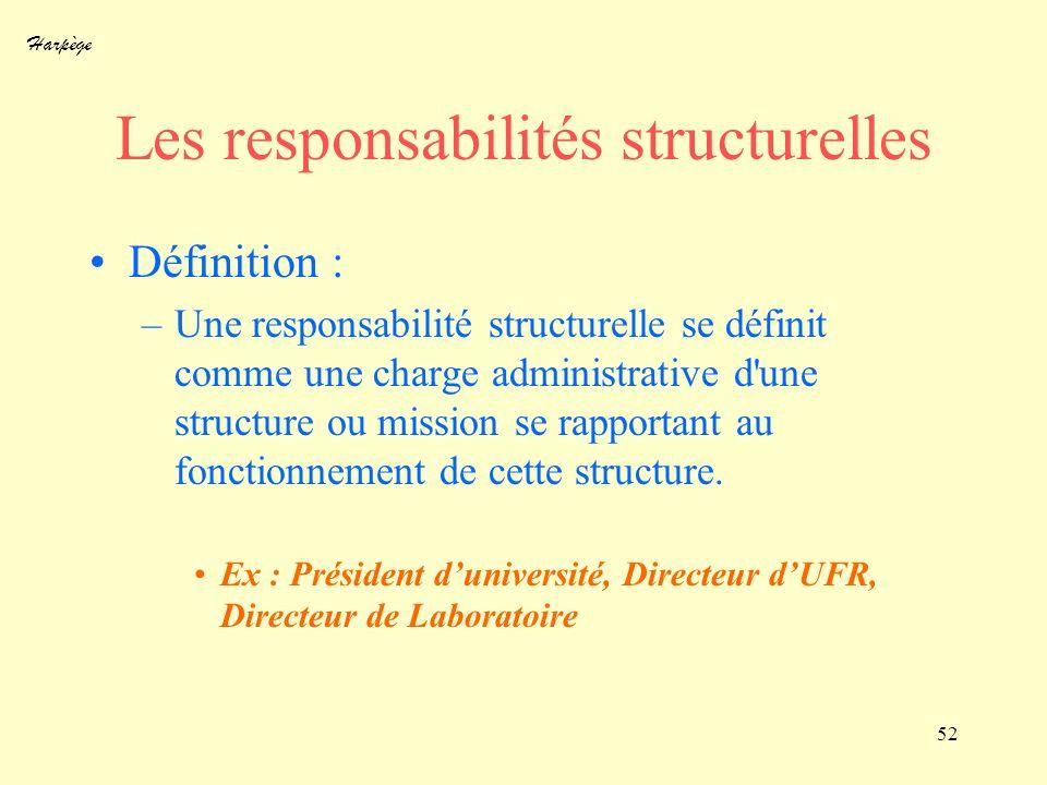 Harpège 52 Les responsabilités structurelles Définition : –Une responsabilité structurelle se définit comme une charge administrative d'une structure
