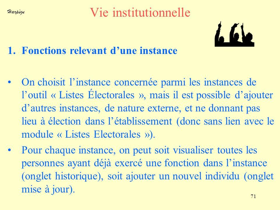 Harpège 71 Vie institutionnelle 1.Fonctions relevant dune instance On choisit linstance concernée parmi les instances de loutil « Listes Électorales »