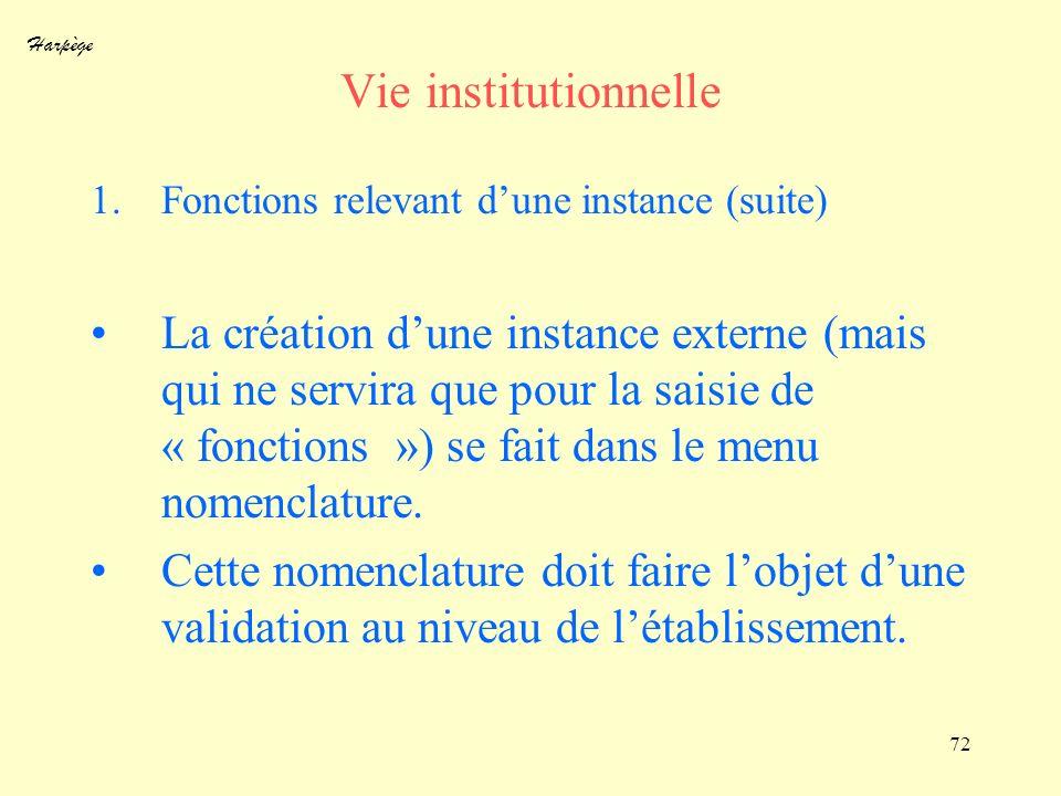 Harpège 72 Vie institutionnelle 1.Fonctions relevant dune instance (suite) La création dune instance externe (mais qui ne servira que pour la saisie d