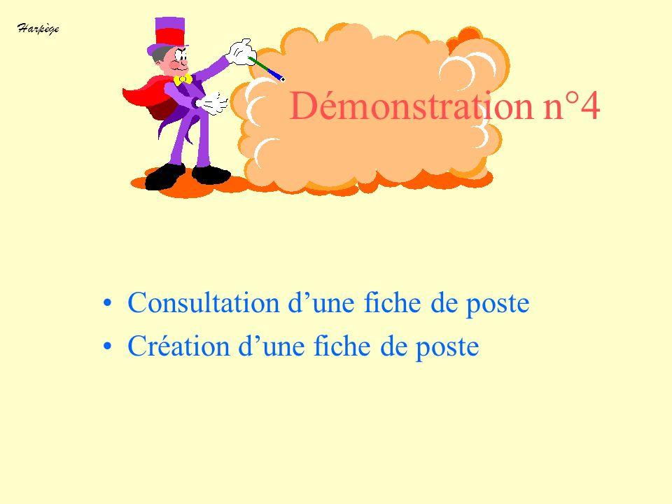 Harpège Démonstration n°4 Consultation dune fiche de poste Création dune fiche de poste