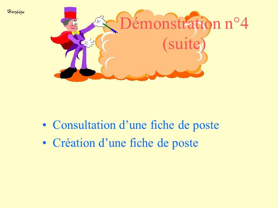 Harpège Démonstration n°4 (suite) Consultation dune fiche de poste Création dune fiche de poste