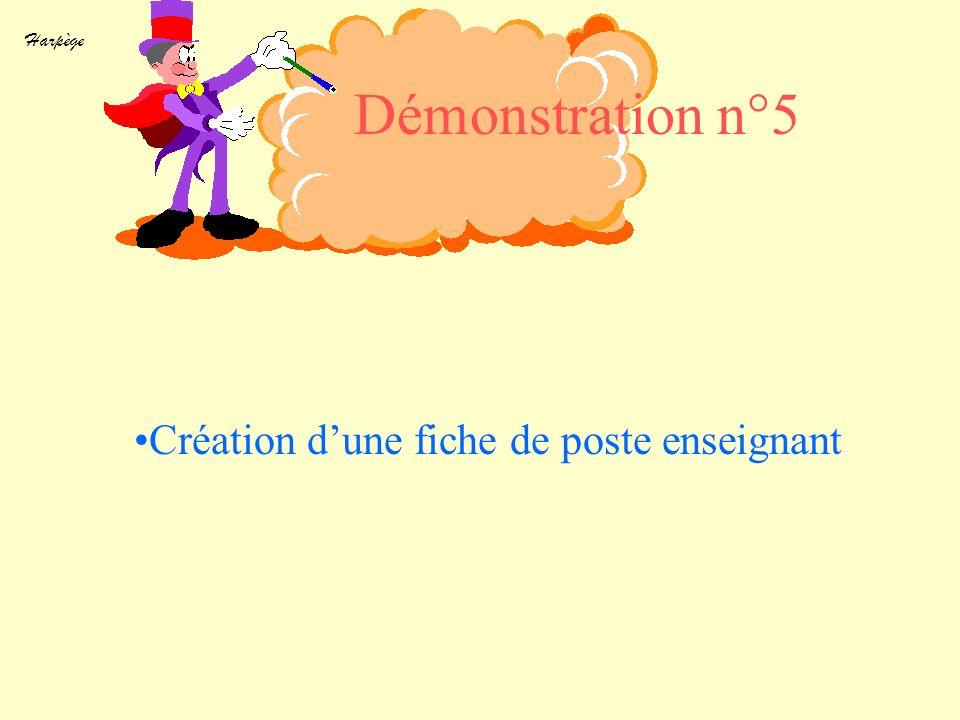 Harpège Création dune fiche de poste enseignant Démonstration n°5