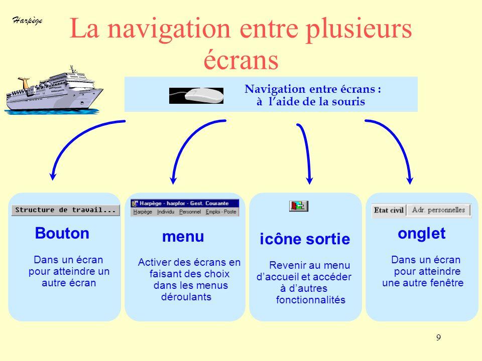 Harpège 9 La navigation entre plusieurs écrans Navigation entre écrans : à laide de la souris Bouton Dans un écran pour atteindre un autre écran menu