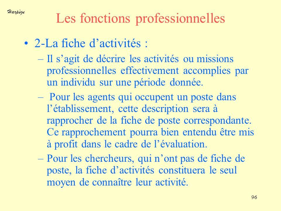 Harpège 96 Les fonctions professionnelles 2-La fiche dactivités : –Il sagit de décrire les activités ou missions professionnelles effectivement accomp