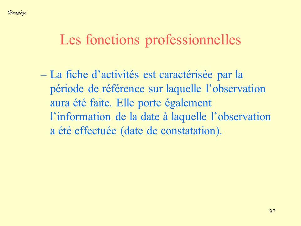 Harpège 97 Les fonctions professionnelles –La fiche dactivités est caractérisée par la période de référence sur laquelle lobservation aura été faite.