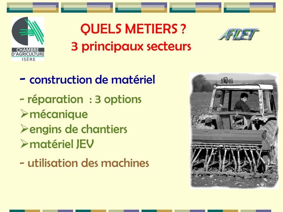 QUELS METIERS ? 3 principaux secteurs - construction de matériel - réparation : 3 options mécanique engins de chantiers matériel JEV - utilisation des