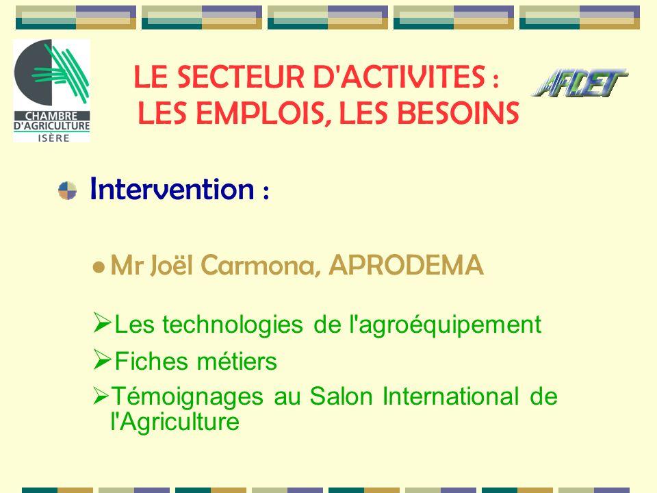 LE SECTEUR D'ACTIVITES : LES EMPLOIS, LES BESOINS Intervention : Mr Joël Carmona, APRODEMA Les technologies de l'agroéquipement Fiches métiers Témoign
