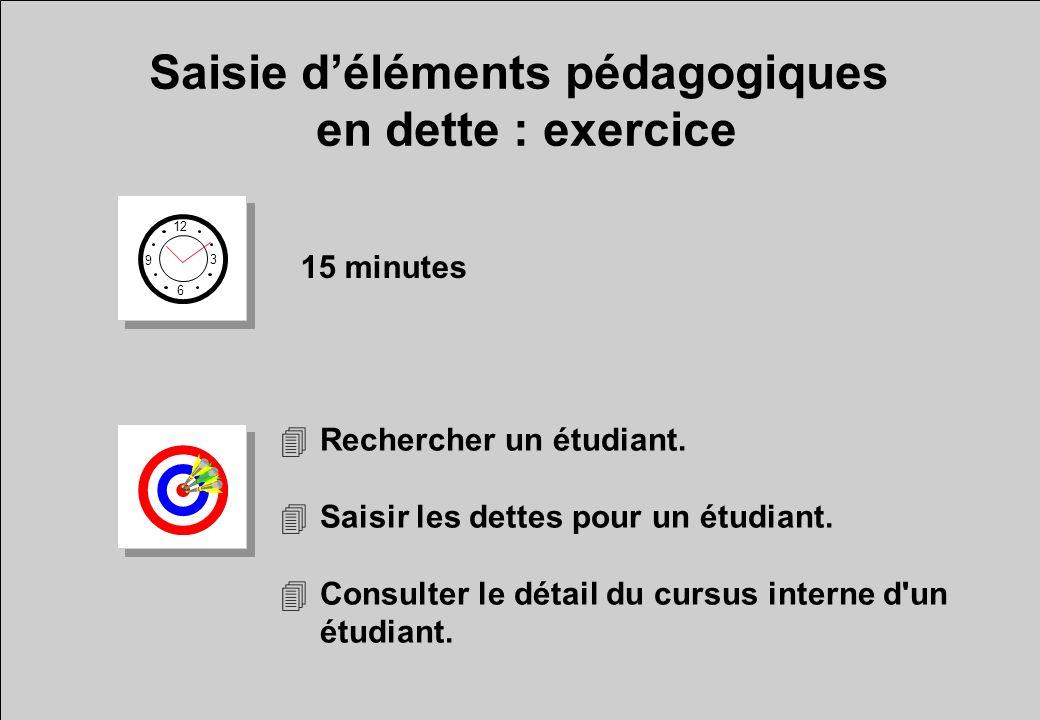 Saisie déléments pédagogiques en dette : exercice 12 6 3 9 15 minutes 4Rechercher un étudiant. 4Saisir les dettes pour un étudiant. 4Consulter le déta