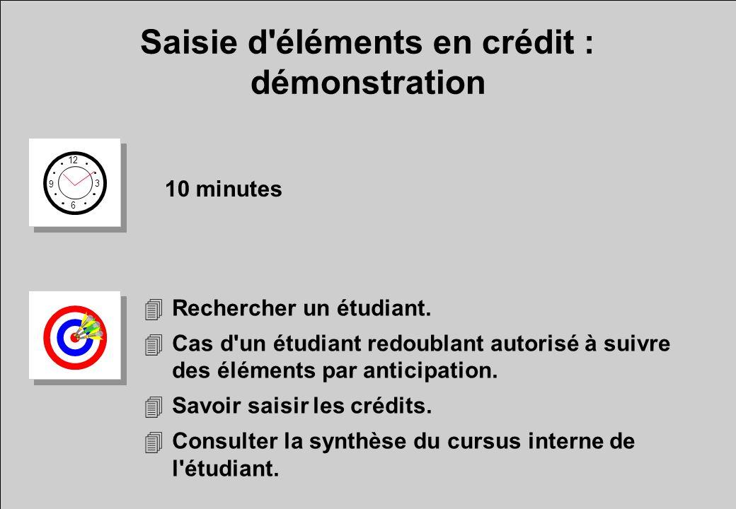 Saisie d'éléments en crédit : démonstration 12 6 3 9 10 minutes 4Rechercher un étudiant. 4Cas d'un étudiant redoublant autorisé à suivre des éléments