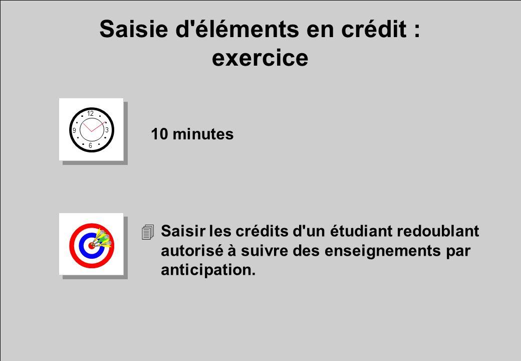 Saisie d'éléments en crédit : exercice 12 6 3 9 10 minutes 4Saisir les crédits d'un étudiant redoublant autorisé à suivre des enseignements par antici