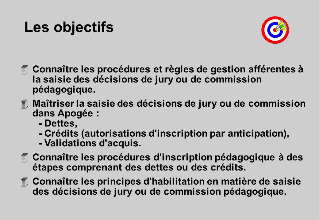 Les objectifs 4Connaître les procédures et règles de gestion afférentes à la saisie des décisions de jury ou de commission pédagogique. 4Maîtriser la