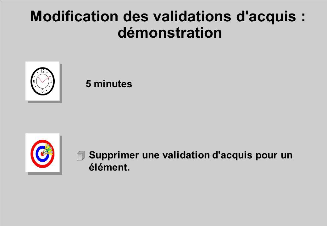 Modification des validations d'acquis : démonstration 12 6 3 9 5 minutes 4Supprimer une validation d'acquis pour un élément.