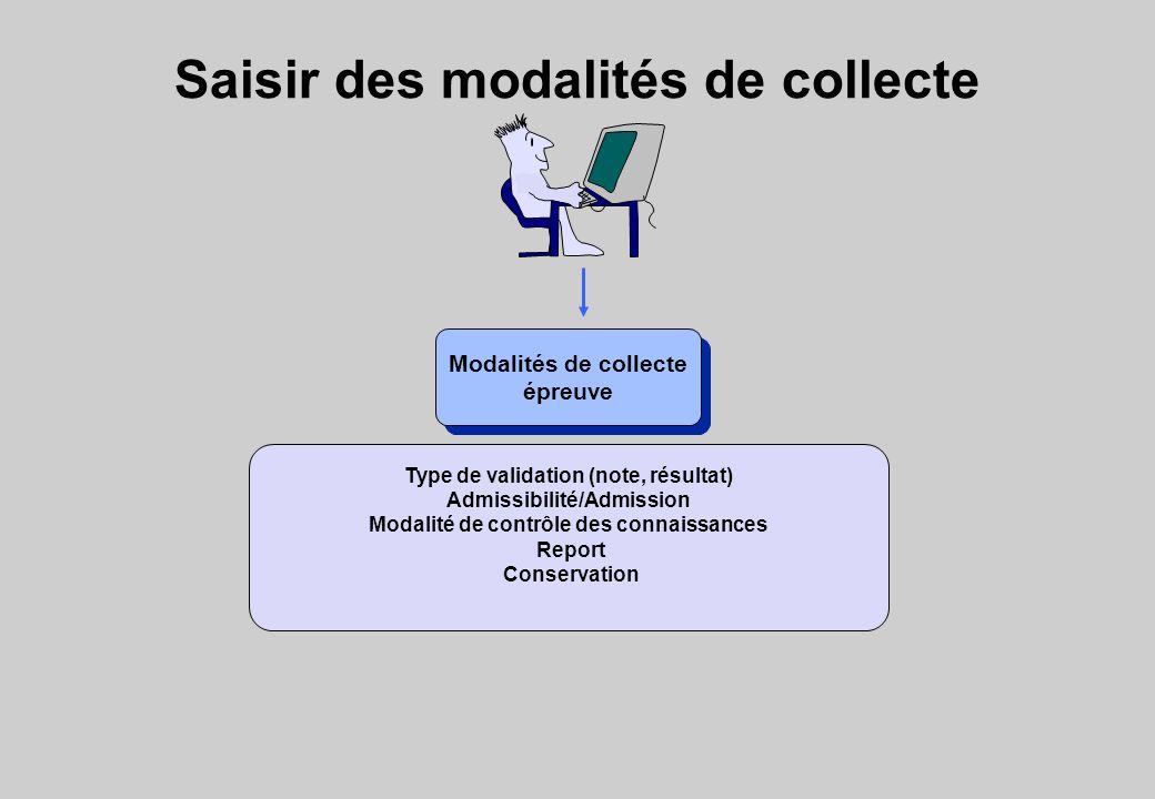 Saisir des modalités de collecte Modalités de collecte épreuve Modalités de collecte épreuve Type de validation (note, résultat) Admissibilité/Admission Modalité de contrôle des connaissances Report Conservation