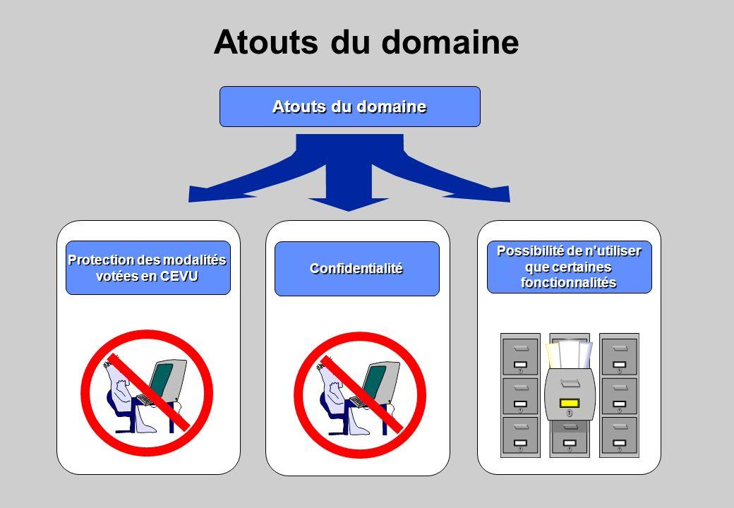 Atouts du domaine Protection des modalités votées en CEVU Confidentialité Possibilité de n utiliser que certaines fonctionnalités