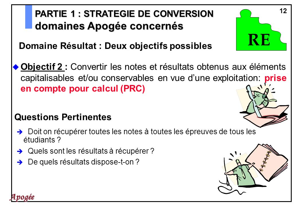 12 Apogée Objectif 2 : Convertir les notes et résultats obtenus aux éléments capitalisables et/ou conservables en vue dune exploitation: prise en comp