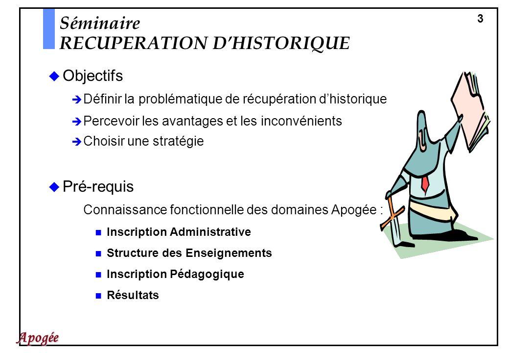 3 Apogée Objectifs Définir la problématique de récupération dhistorique Percevoir les avantages et les inconvénients Choisir une stratégie Pré-requis