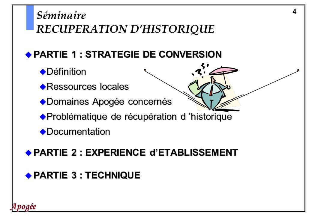 4 Apogée Séminaire RECUPERATION DHISTORIQUE PARTIE 1 : STRATEGIE DE CONVERSION PARTIE 1 : STRATEGIE DE CONVERSION Définition Définition Ressources loc