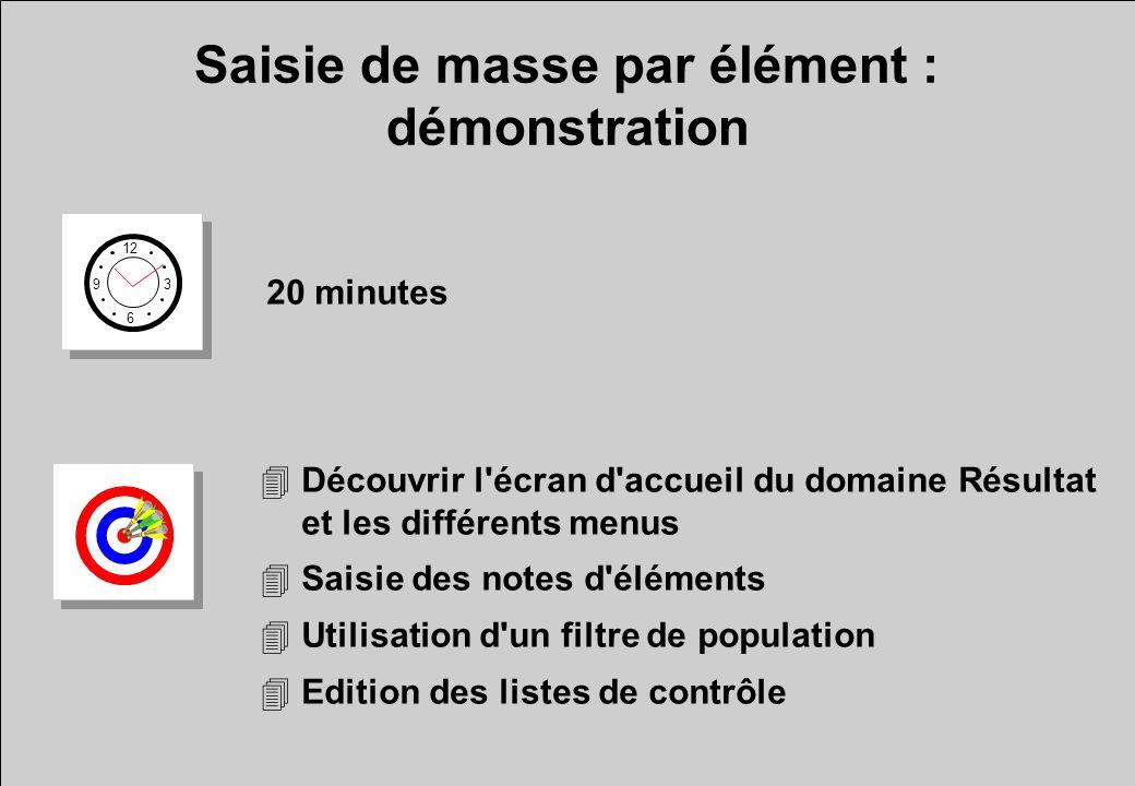 Saisie de masse par élément : démonstration 12 6 3 9 20 minutes 4Découvrir l'écran d'accueil du domaine Résultat et les différents menus 4Saisie des n