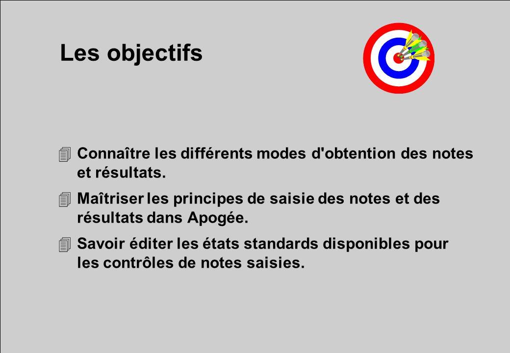 Les objectifs 4Connaître les différents modes d'obtention des notes et résultats. 4Maîtriser les principes de saisie des notes et des résultats dans A
