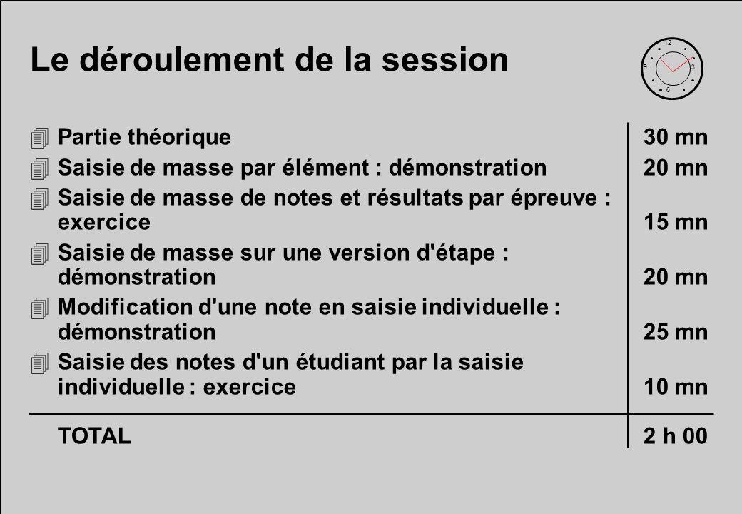 Le déroulement de la session 4Partie théorique30 mn 4Saisie de masse par élément : démonstration20 mn 4Saisie de masse de notes et résultats par épreu