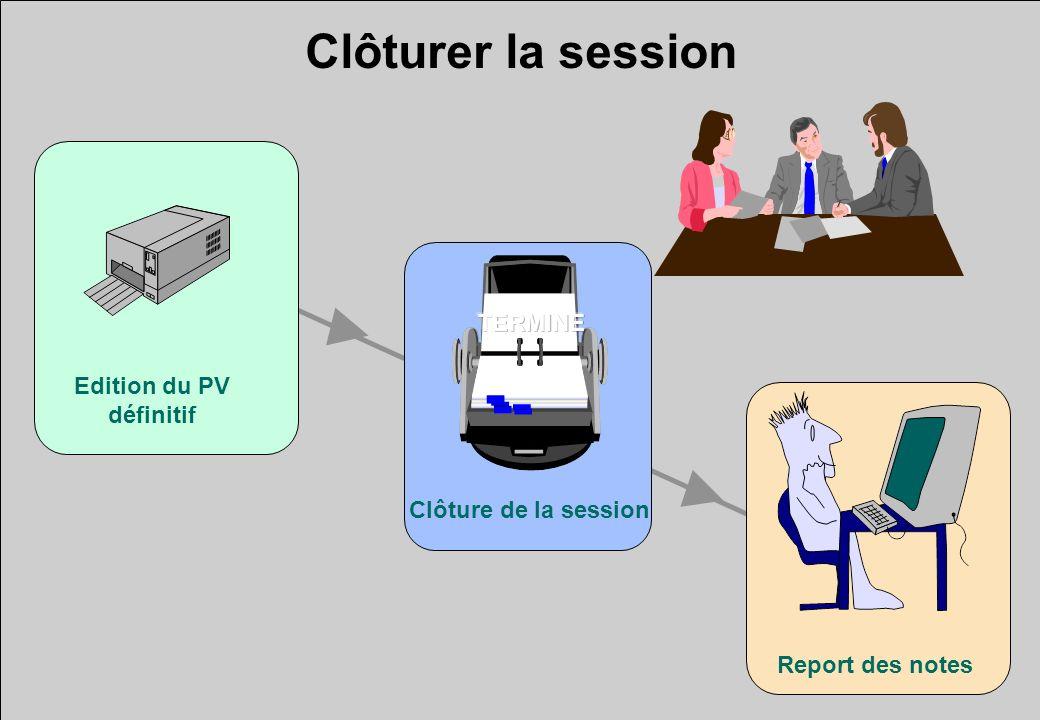 Clôturer la session Edition du PV définitif Report des notes Clôture de la session