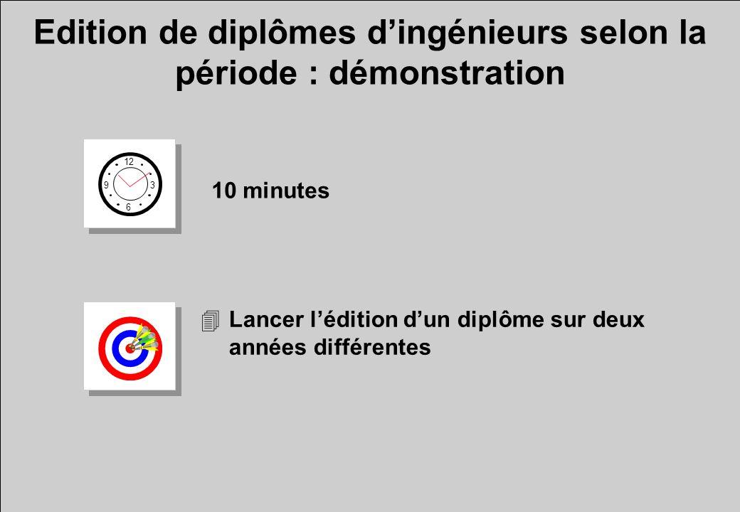 Edition de diplômes dingénieurs selon la période : démonstration 12 6 3 9 10 minutes 4Lancer lédition dun diplôme sur deux années différentes