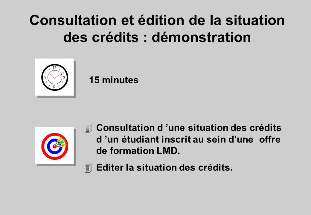 Consultation et édition de la situation des crédits : démonstration 12 6 3 9 15 minutes 4Consultation d une situation des crédits d un étudiant inscri