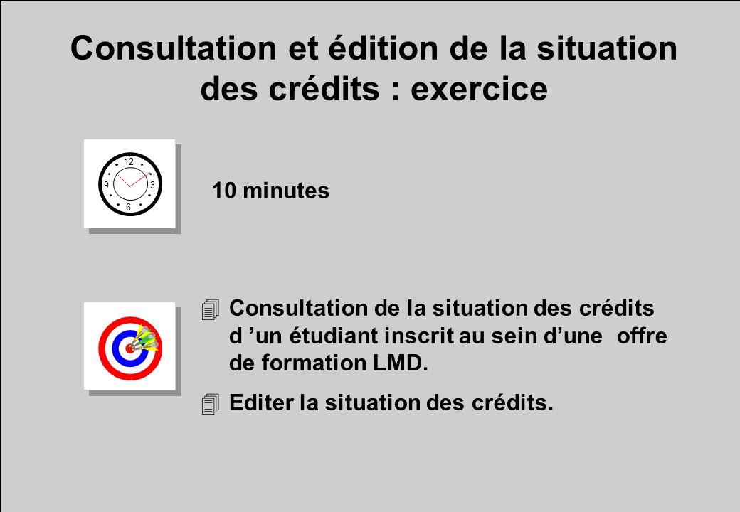 Consultation et édition de la situation des crédits : exercice 12 6 3 9 10 minutes 4Consultation de la situation des crédits d un étudiant inscrit au