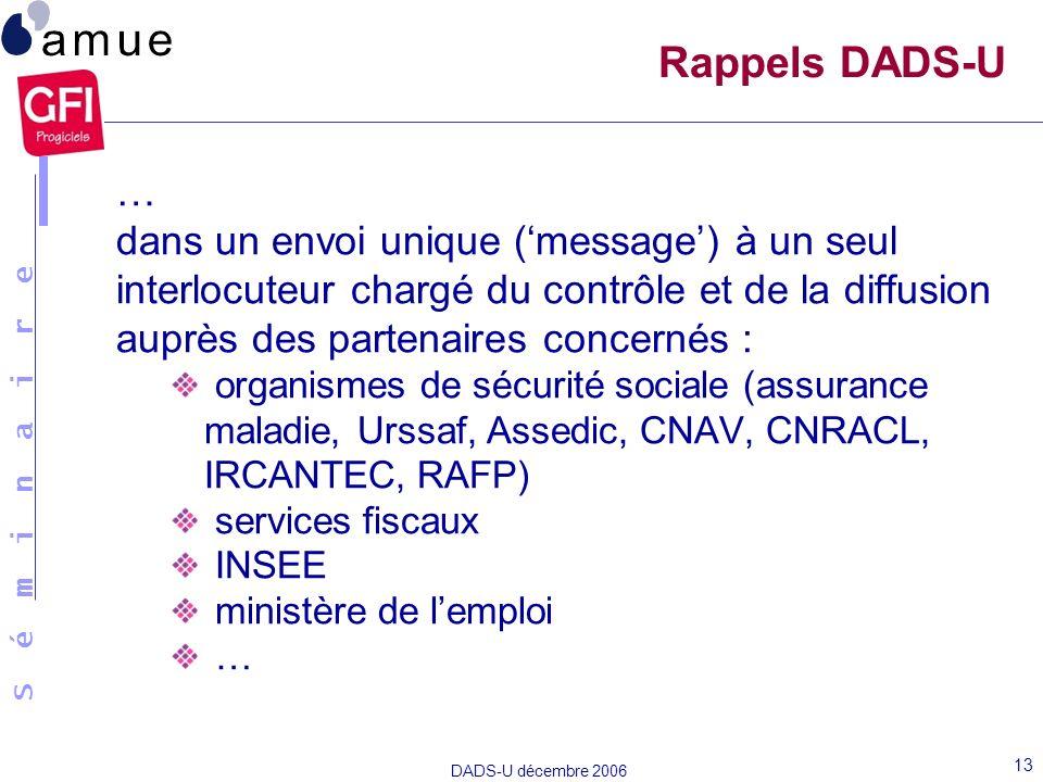 S é m i n a i r e DADS-U décembre 2006 13 Rappels DADS-U … dans un envoi unique (message) à un seul interlocuteur chargé du contrôle et de la diffusio
