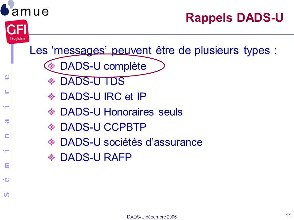 S é m i n a i r e DADS-U décembre 2006 14 Les messages peuvent être de plusieurs types : DADS-U complète DADS-U TDS DADS-U IRC et IP DADS-U Honoraires