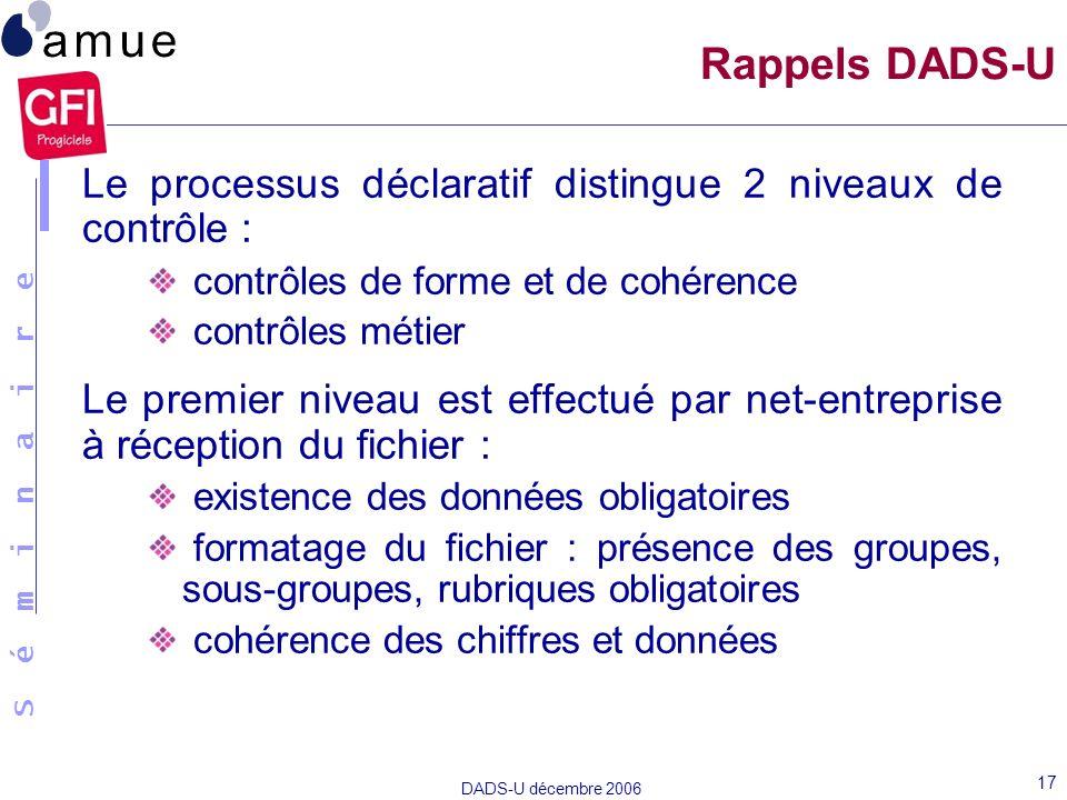 S é m i n a i r e DADS-U décembre 2006 17 Rappels DADS-U Le processus déclaratif distingue 2 niveaux de contrôle : contrôles de forme et de cohérence