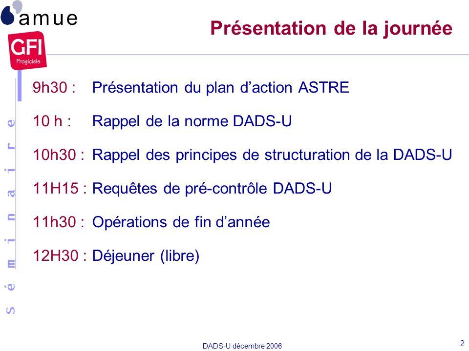 S é m i n a i r e DADS-U décembre 2006 2 Présentation de la journée 9h30 : Présentation du plan daction ASTRE 10 h :Rappel de la norme DADS-U 10h30 :R