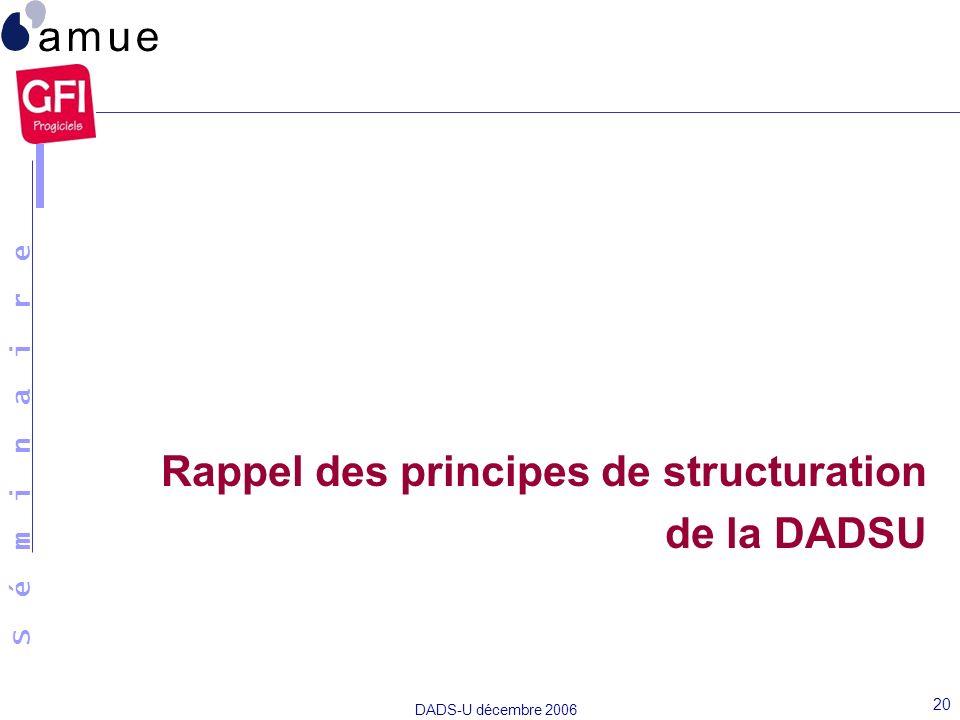 S é m i n a i r e DADS-U décembre 2006 20 Rappel des principes de structuration de la DADSU