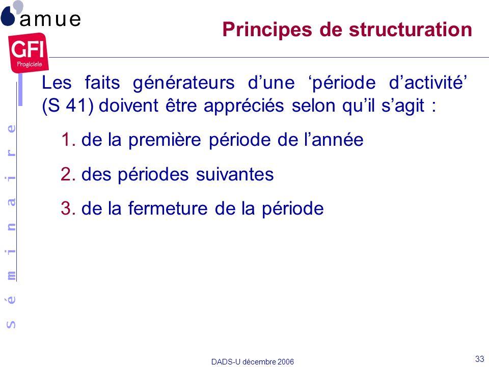 S é m i n a i r e DADS-U décembre 2006 33 Les faits générateurs dune période dactivité (S 41) doivent être appréciés selon quil sagit : 1. de la premi